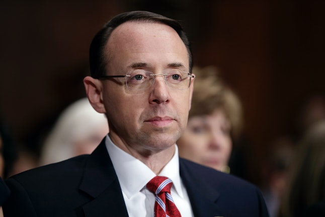 Deputy Attorney General Rod J. Rosenstein during his confirmation hearing on March 7