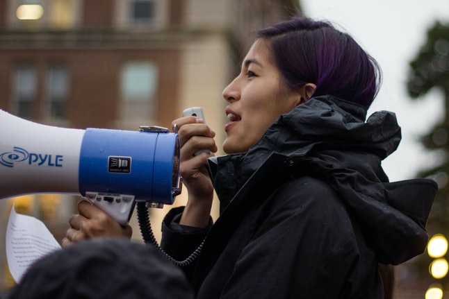 Emma Sulkowicz at the Columbia University National Day of Action