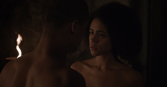 """Missandei and Grey Worm in """"Stormborn."""""""