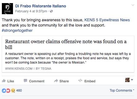 Source: Di Frabo Ristorante Italiano/Facebook