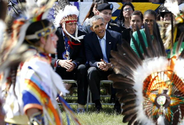President Barack Obama and First Lady Michelle Obama visiting the reservation