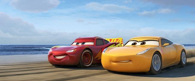 Lightening McQueen, voiced by Owen Wilson, and Cruz Ramirez, voiced by Cristela Alonzo, in 'Cars 3'