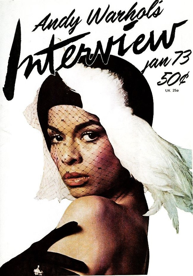 Bianca Jagger on the cover of 'Interview'