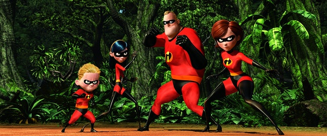 The Parr family prepares to take on the bad guy in 'The Incredibles'.
