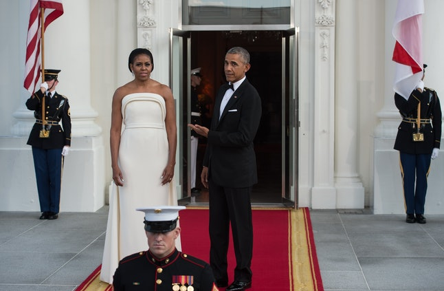 Barack Obama and Michelle Obama at a state dinner for Singapore in August 2016