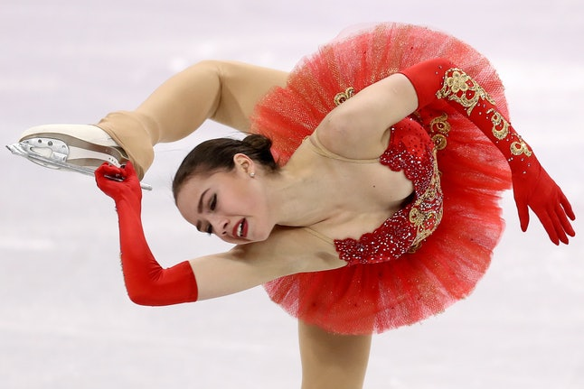 Alina Zagitova, an athlete from Russia, competes in Pyeongchang.