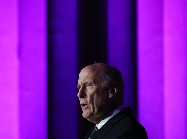 Dan Coats, the director of national intelligence, speaks at a cybersecurity conference on Thursday.