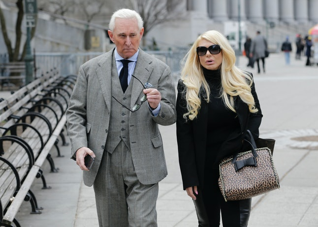 Roger Stone and Kristin Davis leave court in New York in 2017.