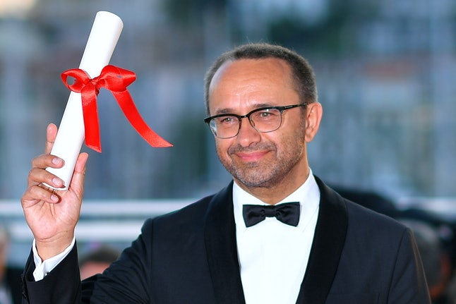 Russian director Andrey Zvyagintsev winning the jury prize at Cannes.