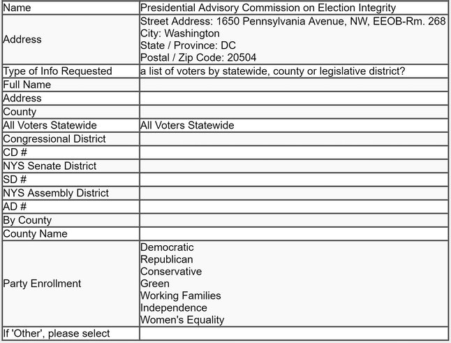 A screenshot of the election panel's information request to New York