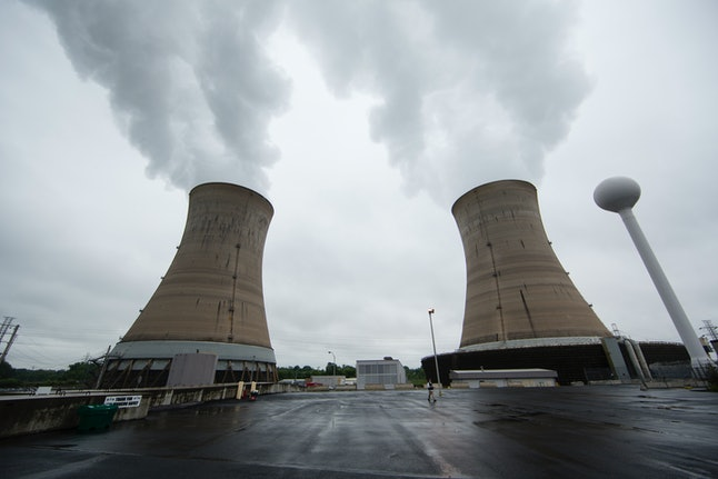 Cooling towers at the Three Mile Island nuclear power plant in Middletown, Pa