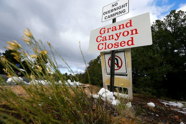 The main entrance to Grand Canyon National Park remains closed to visitors on Thursday Oct. 10, 2013, in Grand Canyon, Arizona, during the government shutdown.