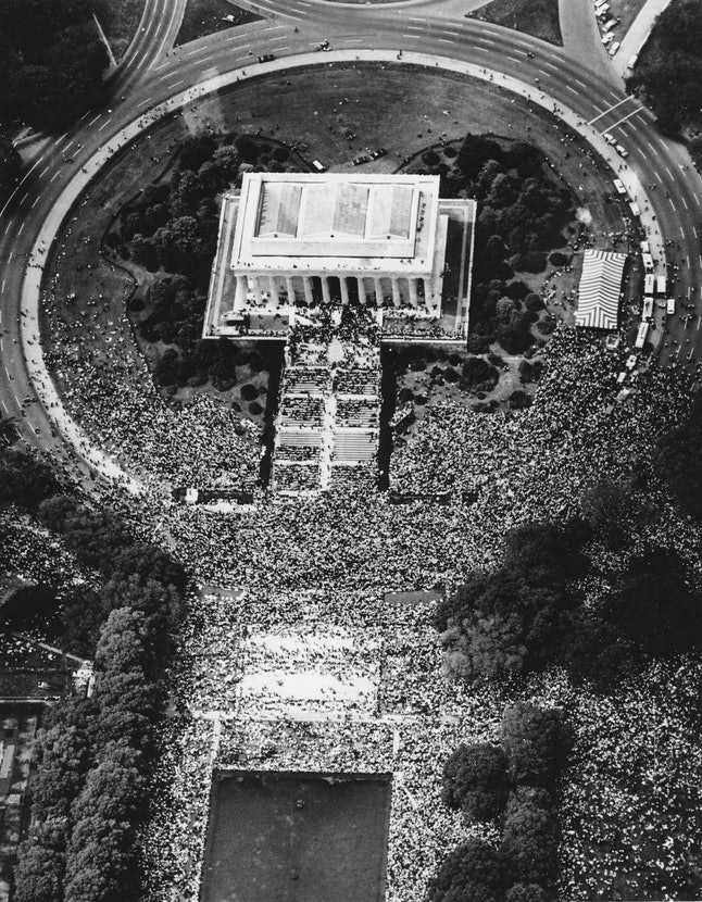 """This aerial view shows crowds at the Lincoln Memorial in Washington during Martin Luther King Jr.'s """"I Have A Dream"""" speech on Aug. 28, 1963."""