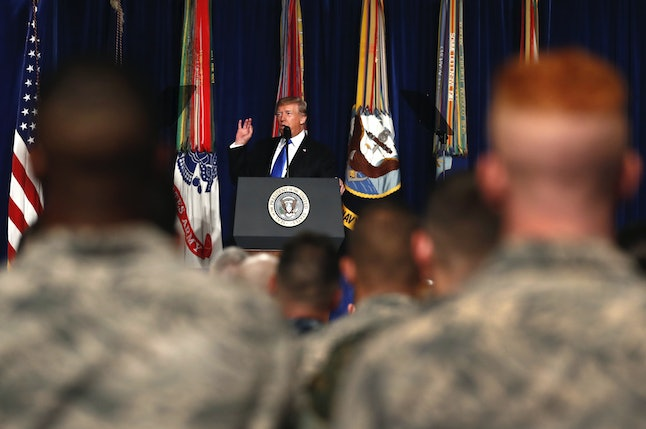 President Donald Trump lays out his strategy in Afghanistan before a crowd of service members at Fort Myer in Arlington, Virginia.