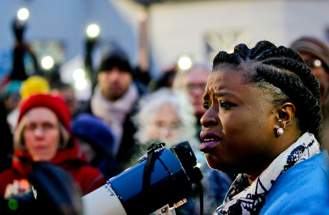 Nekima Levy-Pounds speaks during a protest over the shooting death of Jamar Clark in Minneapolis.