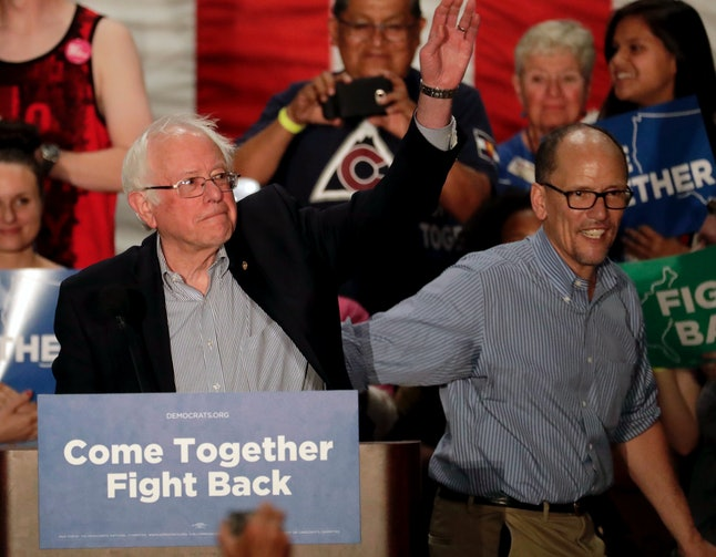 Sen. Bernie Sanders and then-labor secretary Tom Perez took part in a DNC rally in April. Perez is now the DNC chairman.