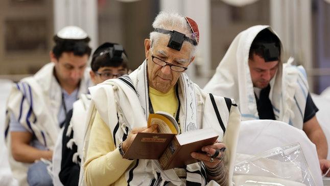 Jacob Aday, a Venezuelan Jewish man, prays in a synagogue.