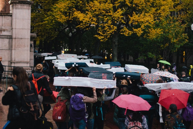 Columbia students participating in anti-campus sexual assault campaign 'Carrying the Weight Together'