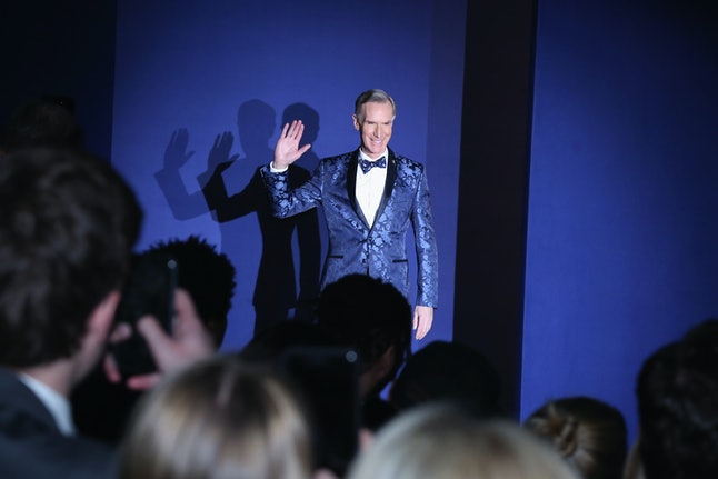 Bill Nye appearing at a charity fashion show in February, 2017