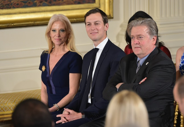 Kellyanne Conway, Jared Kushner and Steve Bannon attend the White House senior staff swearing in.
