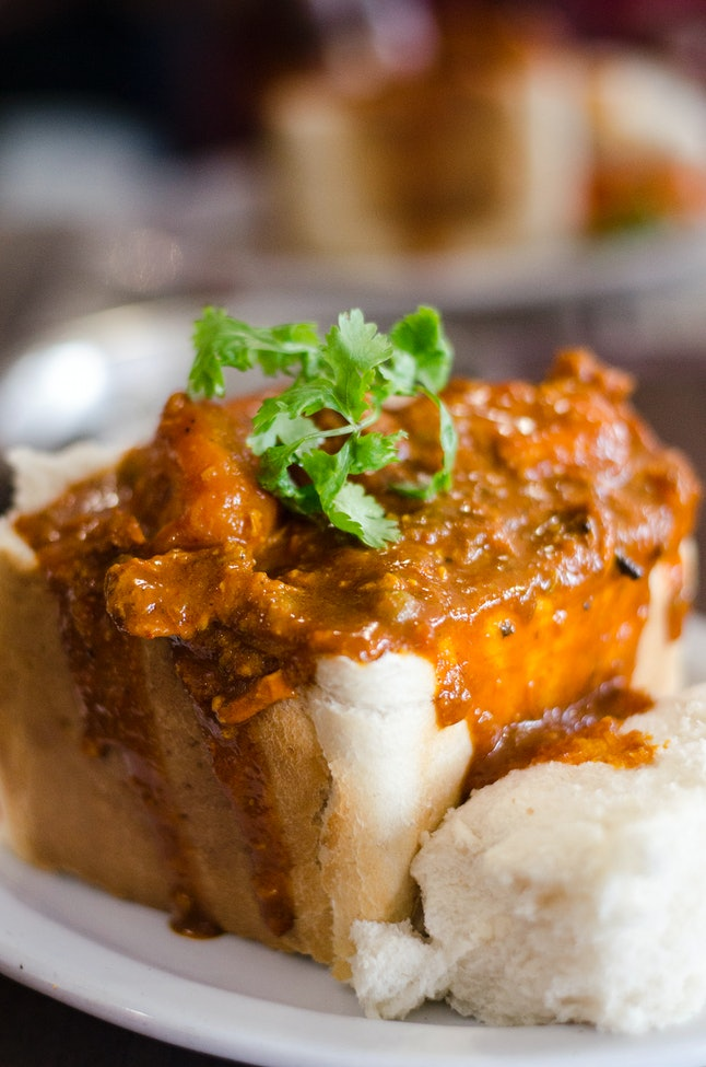 Bunny chow, a Durban Indian curry dish served in a hollowed-out loaf of bread