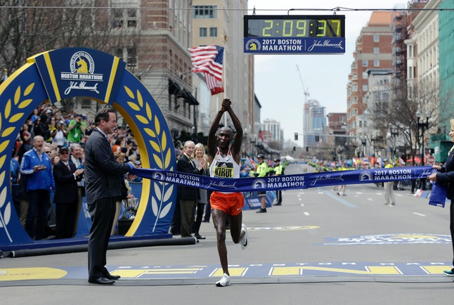 Geoffrey Kirui crosses the finish line at the 2017 Boston Marathon.