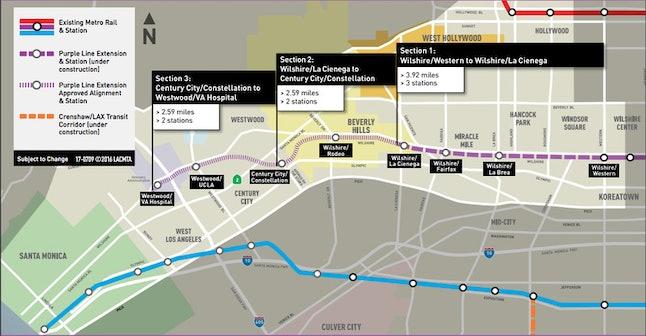 Map of construction plans for extending Los Angeles' purple line.