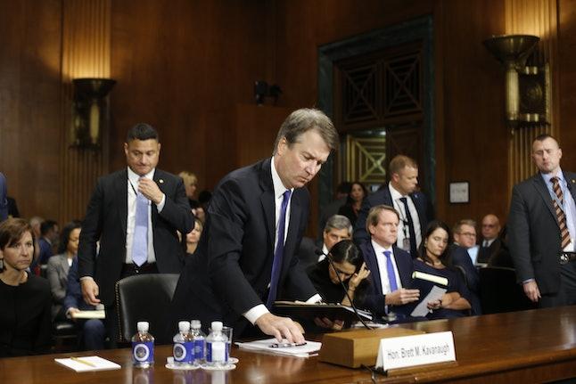 Brett Kavanaugh prepares to leave a Senate Judiciary Committee hearing on Thursday.