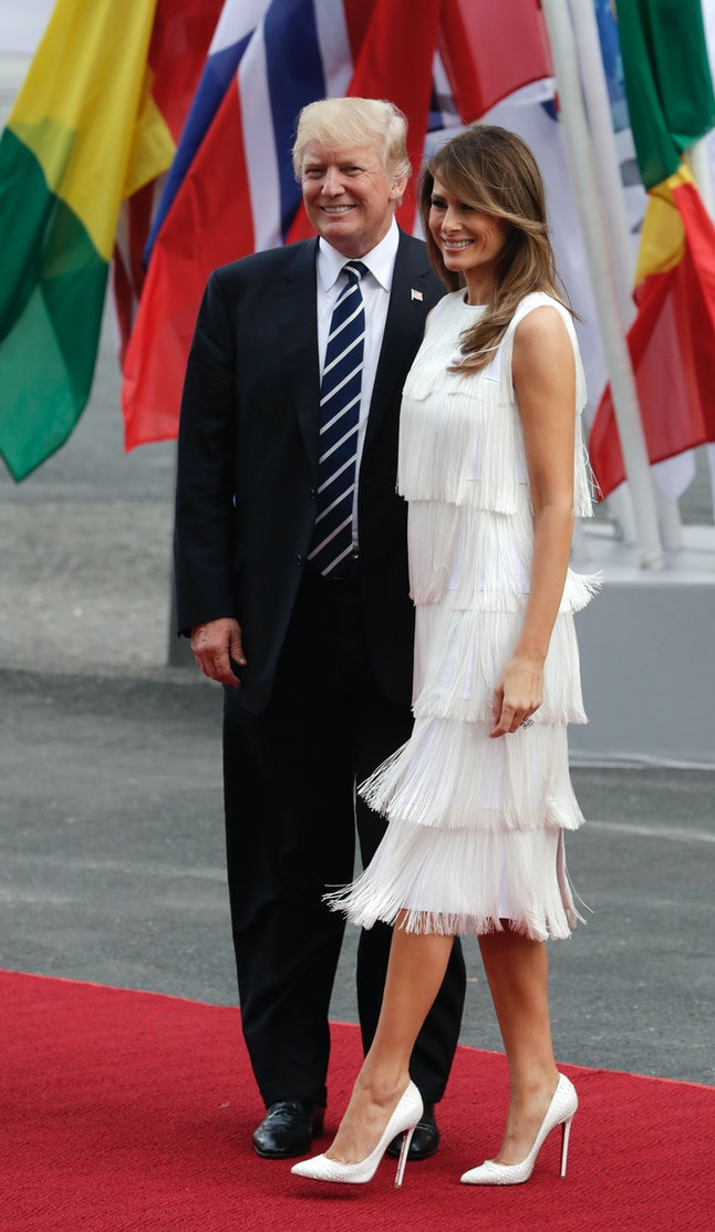 Melania Trump and her husband arrive for a concert during the G-20 summit in Hamburg, Germany