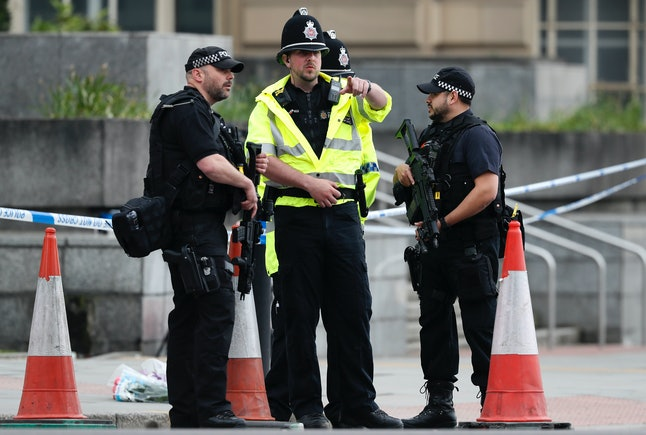 Police investigate Manchester bombing.