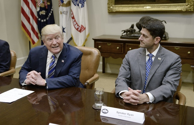 House Speaker Paul Ryan listens as President Donald Trump meets with top Republicans in June.