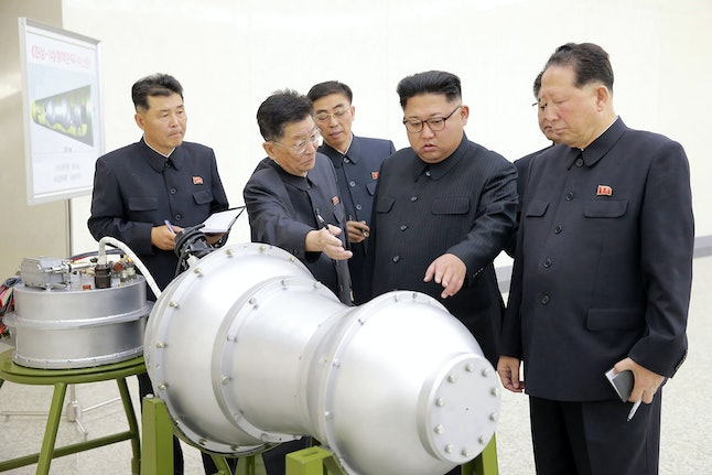 Kim Jong Un inspects a metal casing in an undated photograph released in September by North Korean state media.
