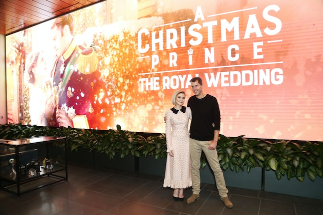 Rose McIver and director John Schultz at 'A Christmas Prince: The Royal Wedding' special Sscreening on Nov. 16 in Los Angeles.