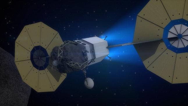 The Asteroid Redirect Vehicle travels to lunar orbit