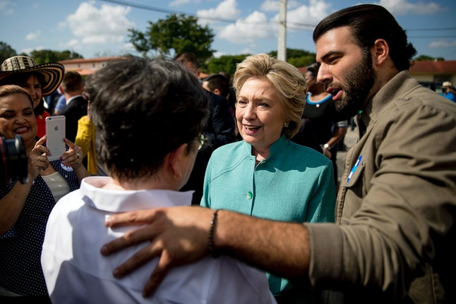 Clinton greets supporters in West Miami.