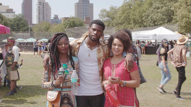 BreeAnna Shelton, left, and Dominique Caminos, right, pose with actor-model Broderick Hunter, during the Afropunk Festival in Brooklyn, New York, on Aug 27. Shelton and Caminos were stranded from their hometown of Houston.
