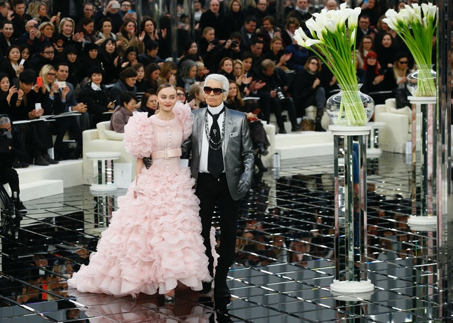 Lily-Rose Depp with designer Karl Lagerfeld at the Chanel show in January