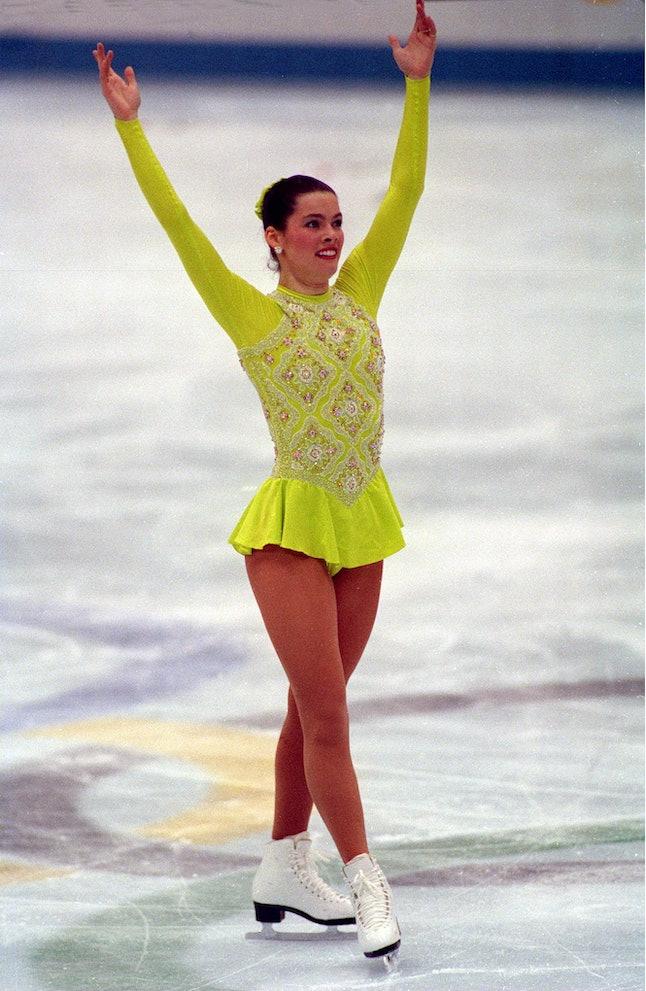 Nancy Kerrigan skating at the 1992 Olympics.