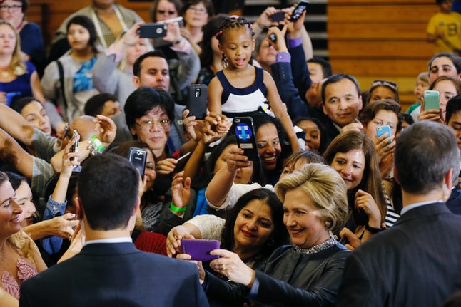 Clinton met with attendees at a campaign stop in Rhode Island
