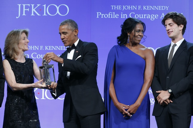 Michelle Obama at an event honoring her husband's  John F. Kennedy Profile In Courage Award