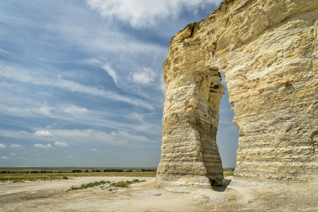 The stunning rock formations at Monument Rocks contain fossils.