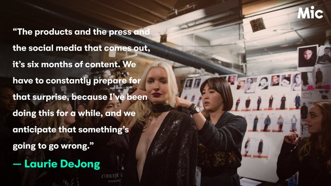 Backstage at a Concept Korea show, which DeJong helped produce