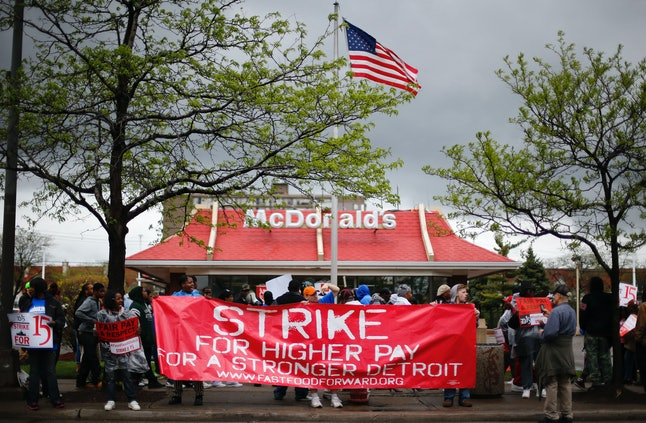 A 2014 protest for higher wages outside a McDonald's in Detroit