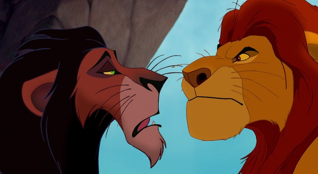 Mufasa, on the right, appears lighter than Scar.