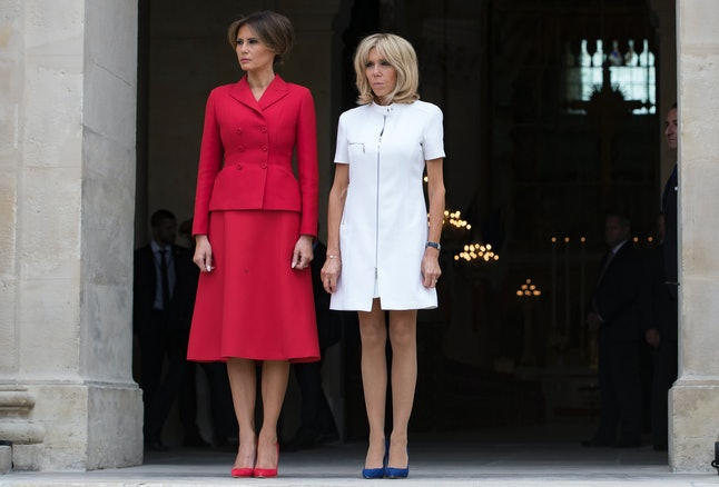 Melania Trump (left) and French first lady Brigitte Macron (right) at the Les Invalides museum in Paris