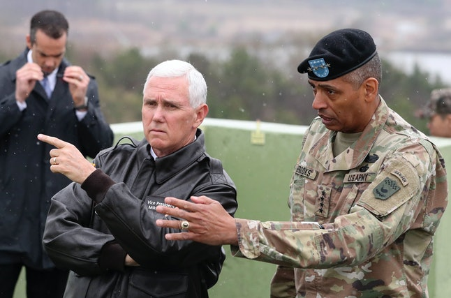 Vice President Mike Pence is briefed during a visit to the demilitarized zone between North and South Korea.