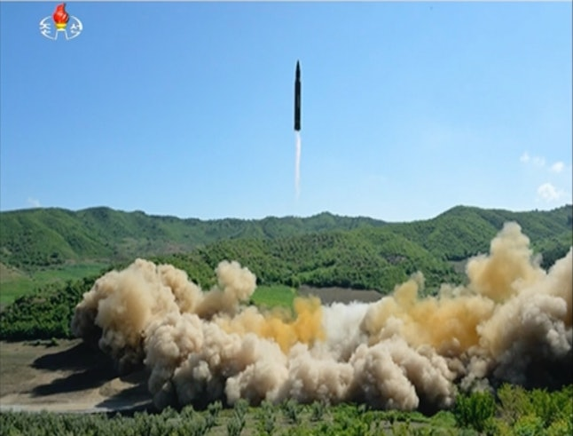 This image from North Korea's KRT allegedly depicts the launch of North Korea's first intercontinental ballistic missile.