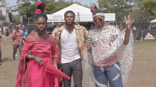 Jaquam Mitchell, left, and Kenneth O'Veal, right, pose with actor-model Broderick Hunter at the Afropunk Festival in Brooklyn, New York, on Aug. 27. O'Veal, a Houston resident, said he planned to stay with Mitchell in Louisiana, until the flood waters receded.