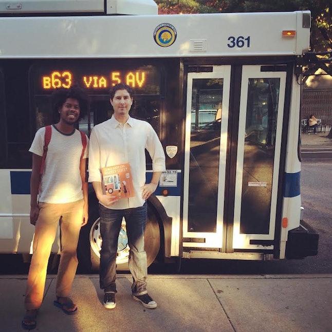 "Matt de la Peña (right) with the illustrator of his book ""Last Stop on Market Street,"" Christian Robinson"