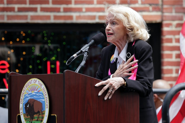 Edith Windsor leads the Pledge of Allegiance during the dedication of the Stonewall National Monument, outside the Stonewall Inn, in New York City's Greenwich Village.